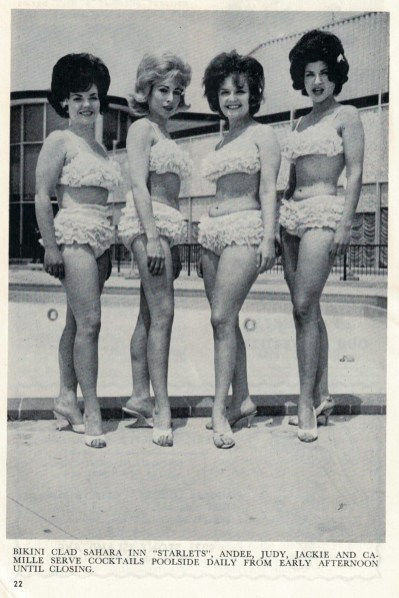 """Some of the Sahara North's """"starlets"""" poolside. (Courtesy Liz Faron collection)"""