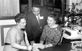 The link between Marshall Savings and the Sahara appears to have been Joseph Mercurio (center) who was senior loan officer at Prospect Federal Savings when the original mortgages were inked. In 1962, he would join Marshall Savings in the same role. (Courtesy Liz Faron collection)