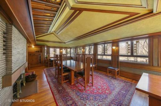 Coonley House also includes carefully designed gleaming oak trim, art glass and Roman brick fireplaces, which the Eastmans restored to museum-like quality during their restoration. (Courtesy of VHT STUDIOS)