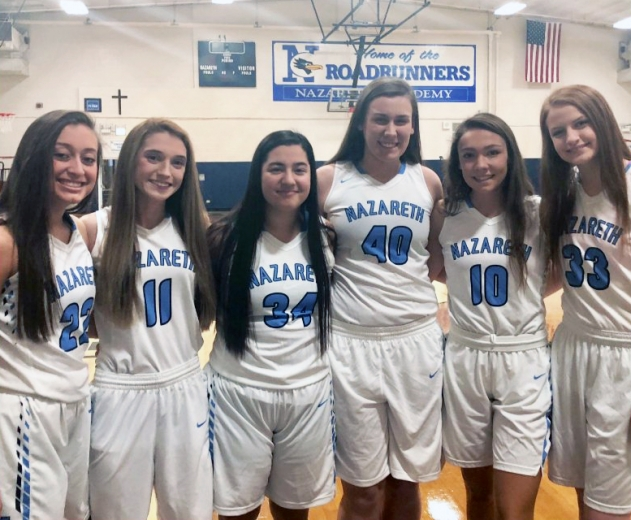 Nazareth Academy players (left to right): Laila Rodriguez, Jovanna Martinucci, Ashley Gamboa, Maggie O'Neil, Sophia Cullotta, Annie Stritzel. The Roadrunners went 26-3 during regular season. (Courtesy Nazareth Academy)