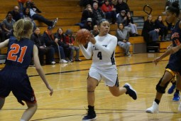 Trinity senior guard/team captain Zyerra Stafford runs the show for the Blazers on the offensive end of the floor. (Photo by Carol Dunning)