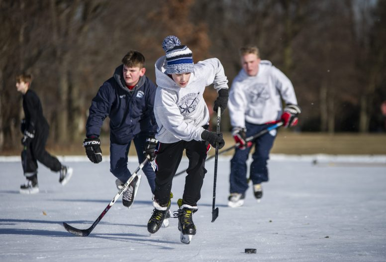 Hockey players were out in force on Feb. 9 on the ice rink at Big Ball Park in Riverside. | Alexa Rogals/Staff Photographer