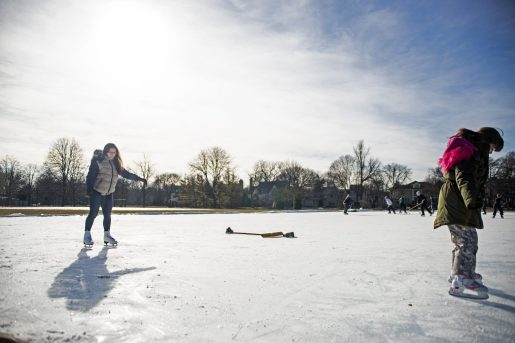 Residents skate around the ice rink and a group of adults and kids play a hockey game on Saturday, Feb. 9, 2019, at the Big Ball Park ice rink in Riverside, Ill. | ALEXA ROGALS/Staff Photographer