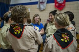 Members of the Lunar Patrol wait for the ceremony to start on Feb. 27, during an induction ceremony for the Boy Scouts of America Troop 90GT at Brook Park Elementary School in La Grange Park,. | ALEXA ROGALS/Staff Photographer