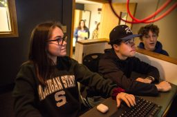 RBHS students Gia Diaz, left, and Alex Garcia, both freshman, work on the audio controls in the TV Control room on March 9, during the annual RBTV Telethon at Riverside Brookfield High School. | ALEXA ROGALS/Staff Photographer