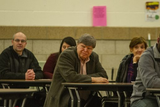 Ken Getty listens to candidates speak on Wednesday, March 20, 2019, during a District 103 candidate forum at George Washington Middle School in Lyons, Ill.   ALEXA ROGALS/Staff Photographer