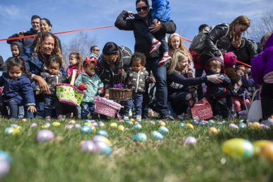 Toddlers and their parents get ready to scoop up as many plastic eggs as they can at Riverside Parks and Rec's annual Easter Egg Hunt at Big Ball Park on April 13. | Alexa Rogals/Staff Photographer