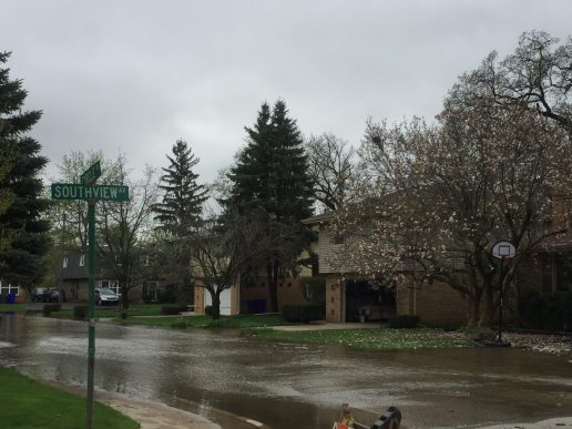 Circle Drive, the single entry/egress point for the Cech Terrace neighborhood of Lyons has flooded. (Bob Uphues | Staff)