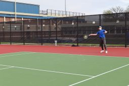 The Bulldogs' William Dowling hits a forehand along the baseline. (Submitted photo)