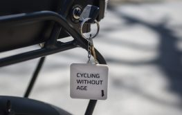 "A keychain saying ""Cycling without Age"" hangs on one of the keys for the bikes on May 3, at the Caledonia Senior Living & Memory Care in North Riverside. 