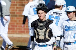 Three-year starting catcher Andrew McKenna handles the Nazareth pitching staff and provides a lively bat as well for the Roadrunners (Submitted photo)