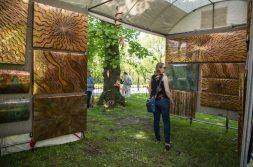 Amanda Hauser, of Brookfield, looks at artwork up on display on May 18, during the Riverside Arts Weekend, also known as RAW, at Guthrie Park in Riverside. | Alexa Rogals/Staff Photographer