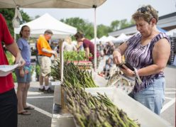Attendees glance over produce for sale on Saturday, June 1, during the opening day of the farmers market at Brookfield Village Hall.   ALEXA ROGALS/Staff Photographer