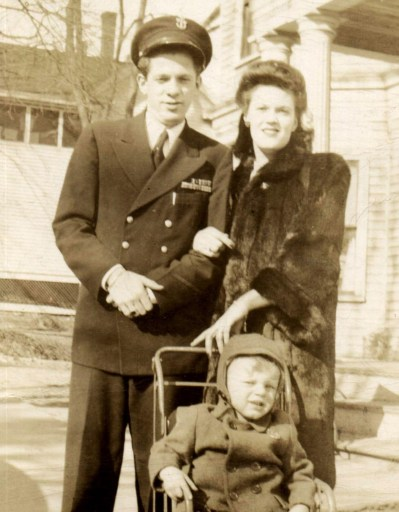 Discovery: After witnessing the Normandy invasion first-hand, Bill Svrluga Sr. (shown above after the war with his wife, Ruth, and son, Bill Jr.) wrote down his experiences, but kept them private until the memoir was discovered after his death. | Photo courtesy of Barry Svrluga