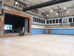 Brook Park's new gym, like the one at S.E. Gross, will be able to accommodate the entire student body for all-school assemblies. It also has a large stage. (Bob Uphues/editor)