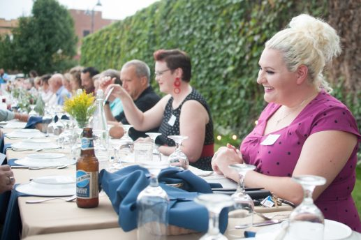 Heather Weyn (far right) was among those in attendance during the the Brookfield Chamber's Farm to Table event on Sept. 15 at Compassion Factory Art Gallery. (SHANEL ROMAIN/Contributor)