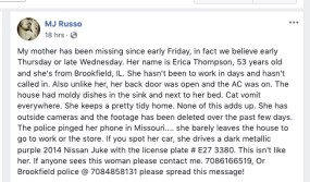 Michael Russo's Facebook post from Oct. 1 announcing his mother's disappearance form her Brookfield home.