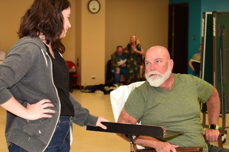 """Sheridan Whiteside (Michael Van Belle) spars with his secretary Maggie (Kristin Ripoli) during the North Riverside Players' production of """"The Man Who Came to Dinner,"""" which opens Oct. 11."""
