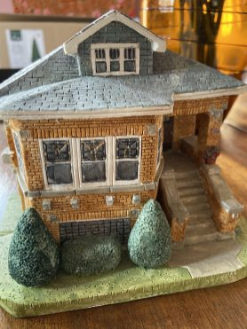 McCarthy's finished works are incredibly detailed, down to the brickwork and stained-glass windows. (Bob Uphues/editor)