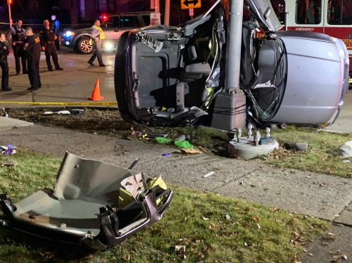 A 22-year-old Berwyn man was killed when his 2007 Ford Escape struck a light pole at the corner of Woodside Road and 31st Street after it collided with another vehicle in the intersection. (Photo courtesy of the Riverside Fire Department)