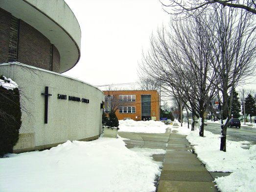 "Church merge: St. Barbara Church (above) remains one of two ""worship sites"" for the newly constituted Holy Guardian Angels Parish, forged by the merger of the former Brookfield parish and St. Louise in LaGrange Park. 
