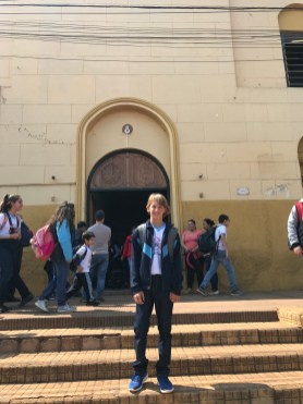 Chase Zidlicky outside his school in Concepcion, Paraguay last fall.