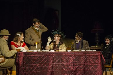 "From left, Jon Murphy (Colonel Mustard), Gwen Adelman (Miss Scarlet), Jovanis Prodanich (Mr. Green), Ella Johnson (Mrs. Peacock), Aydan Leffel (Professor Plum), Brooke Craig (Wadworth, the butler) and Allice Sylvie (Mrs. White) perform ""Clue,"" the fall play on Nov. 6 at RBHS. A video of the play will be available to watch online Oct. 13. (Alex Rogals/Staff Photographer)"