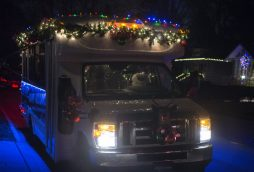 The Fitzgerald's holiday bus stops at different areas to play live jazz music for residents on Dec. 10, in Riverside. (Alex Rogals/Staff Photographer)
