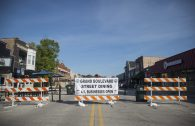 Grand Boulevard is seen blocked off for outdoor dining customers on July 25. Public works crews barricaded the street at the Grand/Prairie/Fairview/Brookfield intersection and mid-block to provide a safe area for diners, who sat at tables set up on either side of Grand Boulevard in front of establishments. (Alex Rogals/Staff Photographer)