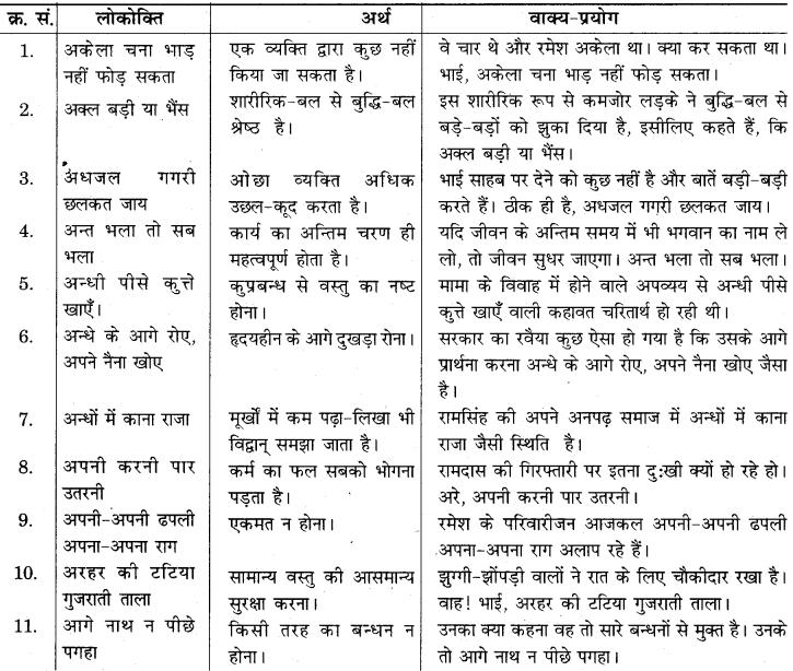RBSE Class 10 Hindi व्याकरण लोकोक्तियाँ Q1