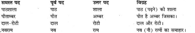 RBSE Class 10 Hindi व्याकरण समास q1
