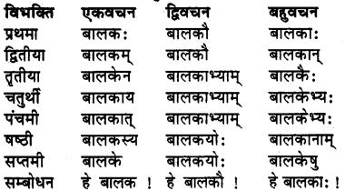 RBSE Class 7 Sanskrit व्याकरण शब्द रूप प्रकरणम् 1