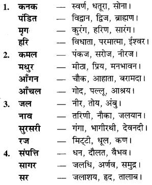 RBSE Class 9 Hindi व्याकरण पर्यायवाची शब्द 7