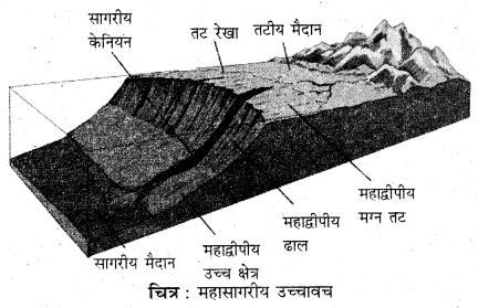 RBSE Solutions for Class 11 Physical Geography Chapter 19 महासागर उच्चावच, तापमान एवं लवणता 1