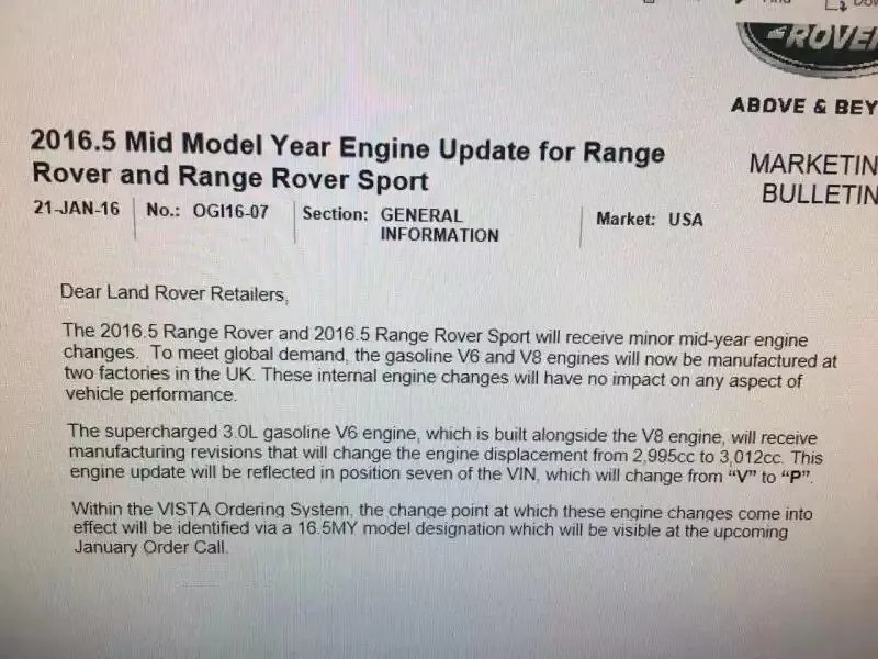 New Engine Size for 2016 Range Rover