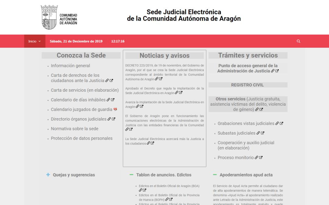 Regulación de la sede judicial electrónica en Aragón