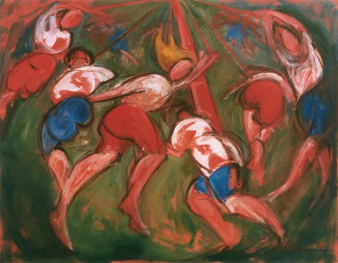 Giclee Limited Edition signed print on canvas of oil painting of traditional English Maypole dance