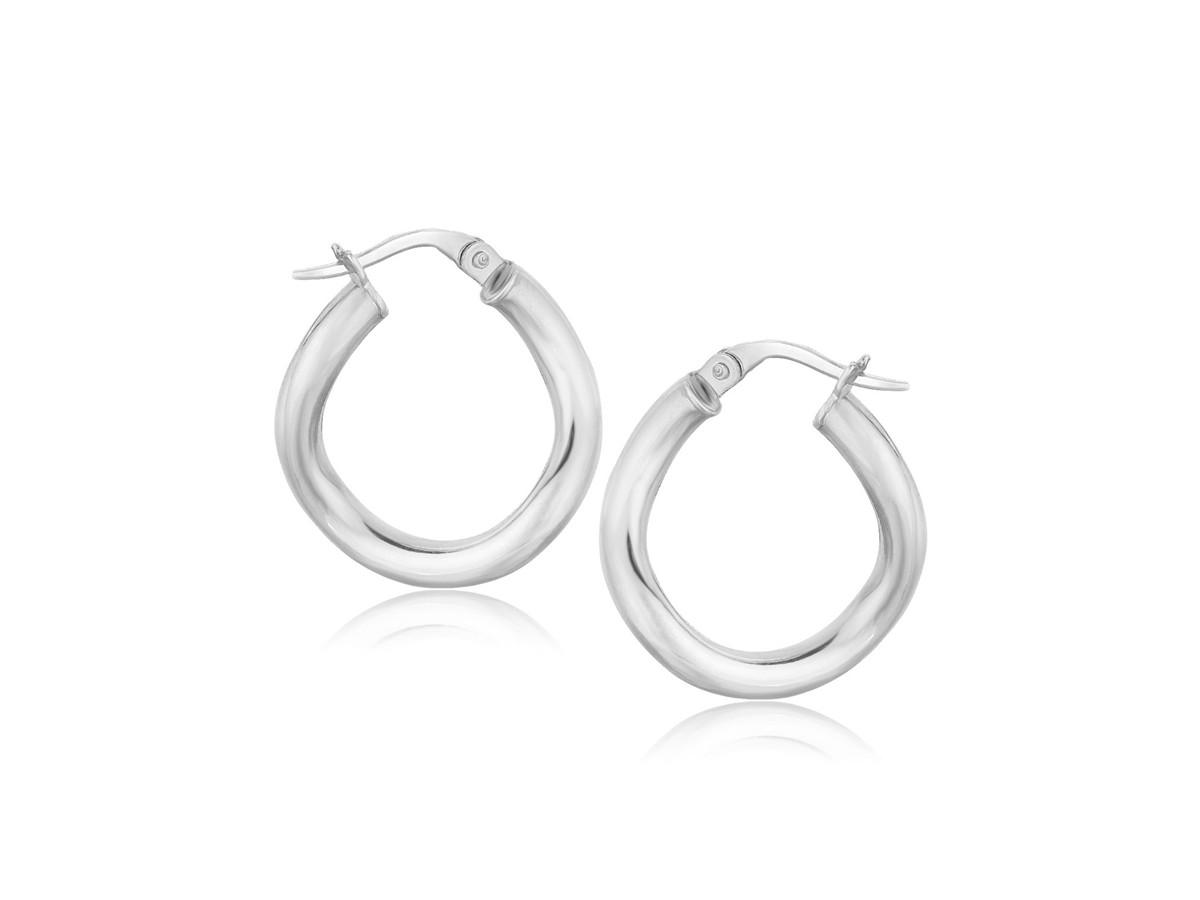 Italian Twist Hoop Earrings In 14k White Gold 5 8 Inch Diameter