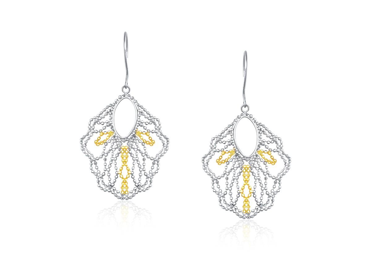 Open Oval Beaded Dangle Earrings In 14k Yellow Gold