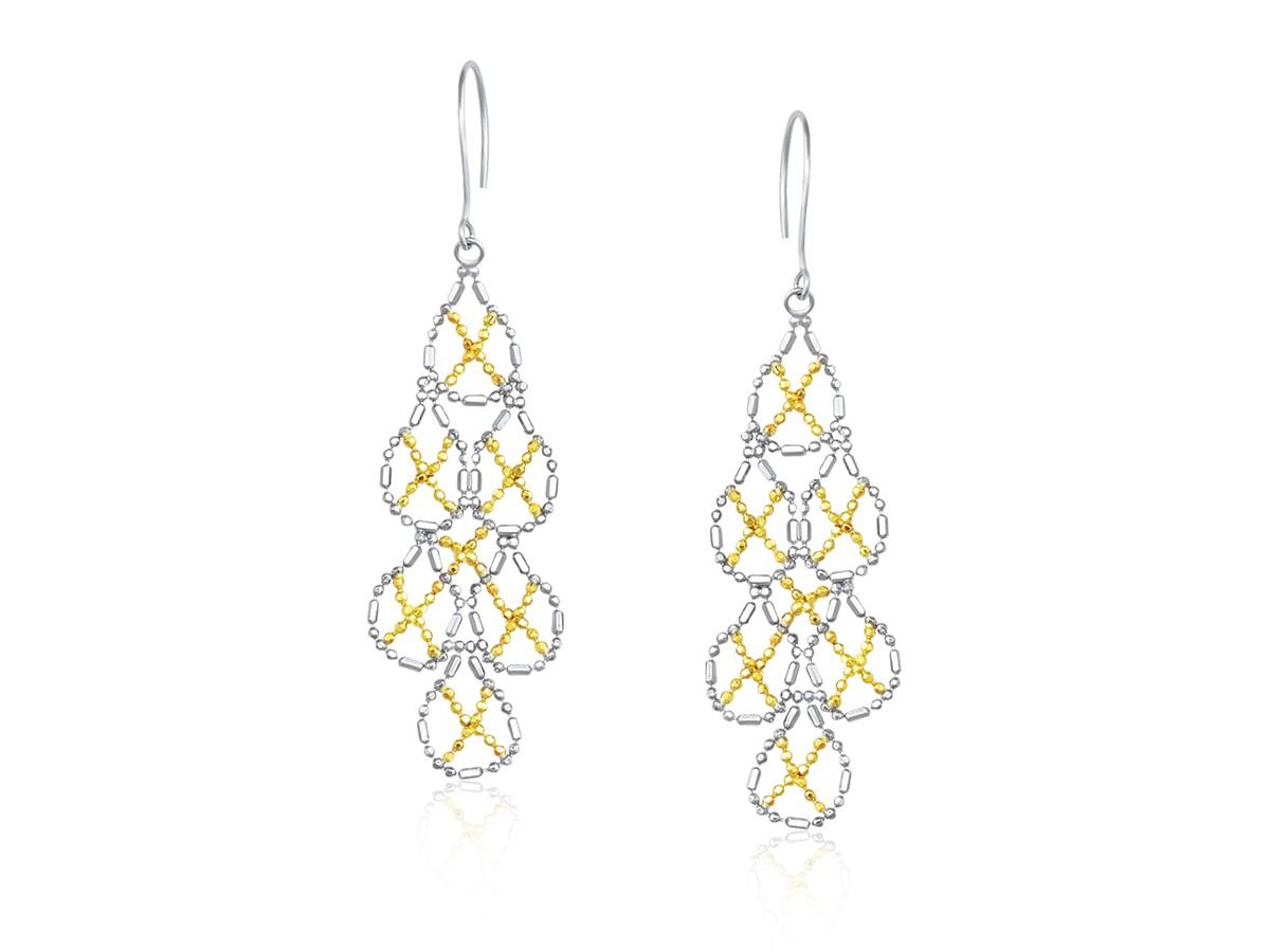Cluster Pear Shape Beaded Earrings In 14k Yellow Gold