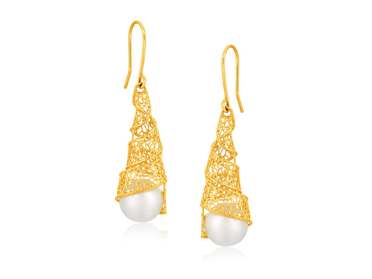 Cultured Pearl Tight Spiral Crochet Earrings In 14K Yellow