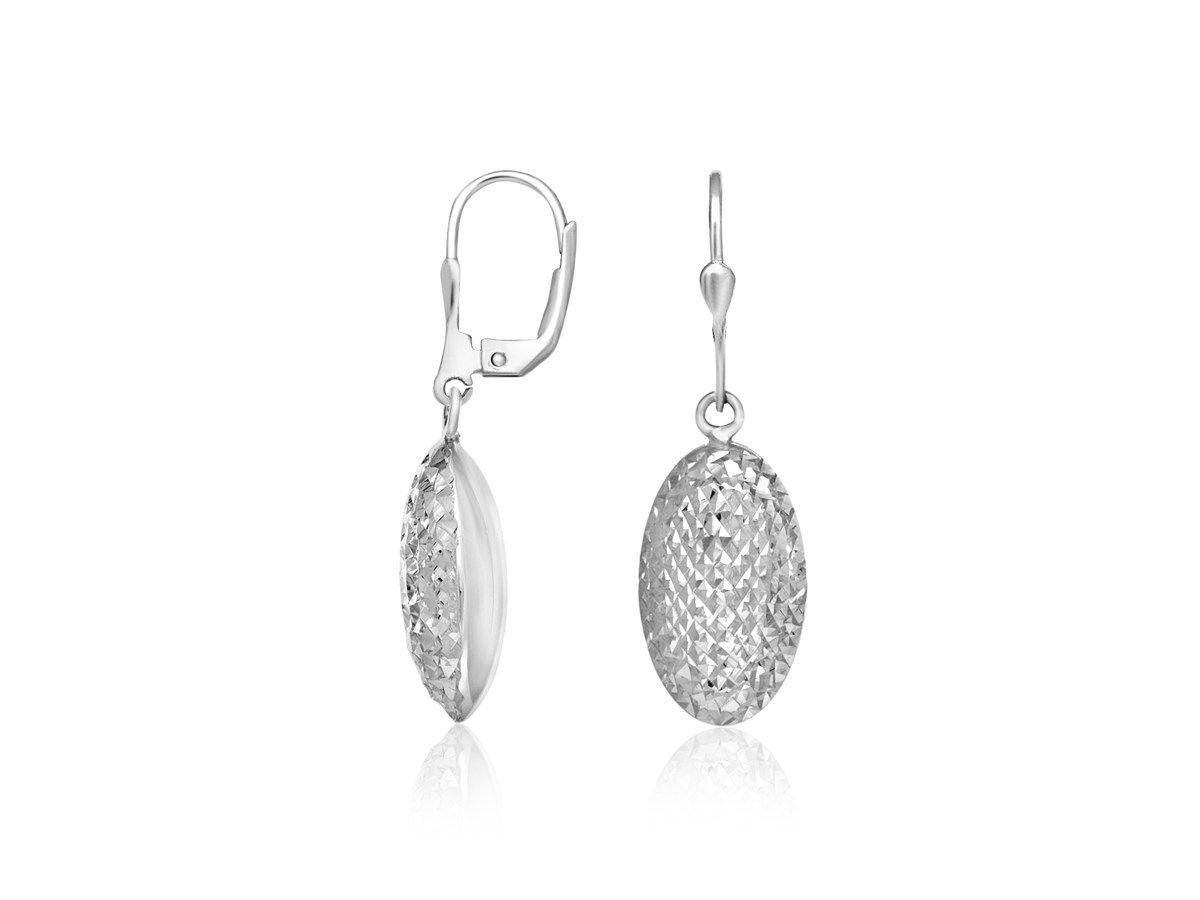 Oval Sparkle Texture Puff Drop Earrings In Sterling Silver
