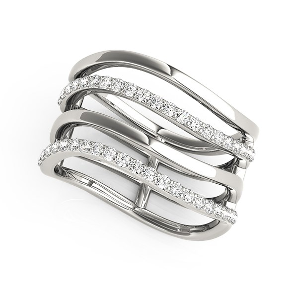 Multi Band Diamond Ring In 14k White Gold 38 Cttw