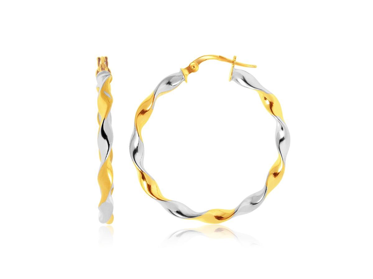 Twisted Large Hoop Earrings In 14K Two Tone Gold Richard