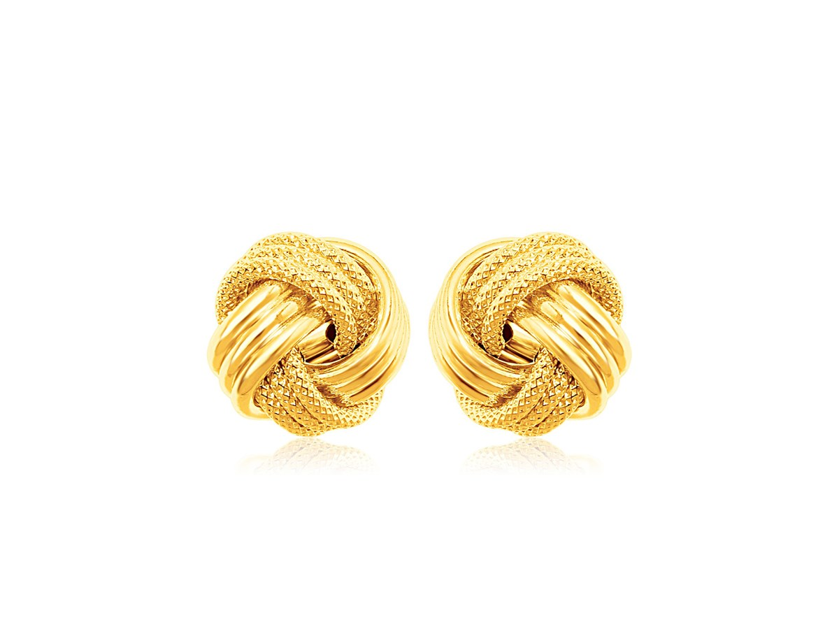 Small Ridged Love Knot Earring In 14k Yellow Gold
