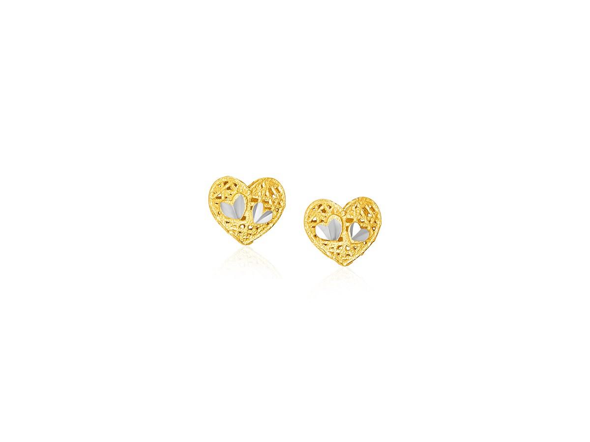 Filigree Style Heart Post Earrings In 14k Yellow Gold