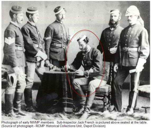 Photograph of early NWMP members. Sub-Inspector Jack French is pictured above seated at the table. Source of photograph - RCMP Historical Collections Unit, Depot Division