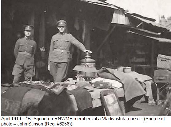 "Photograph of ""B"" Squadron RNWMP members at Chinese Market - Vladivostok 1919"