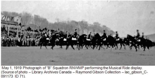 "Photograph of ""B"" Squadron members performing Musical Ride - May 1, 1919 - Vladivostok Siberia"