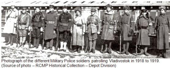 Photograph of different Military Police in Vladivostok Siberia 1918-1919